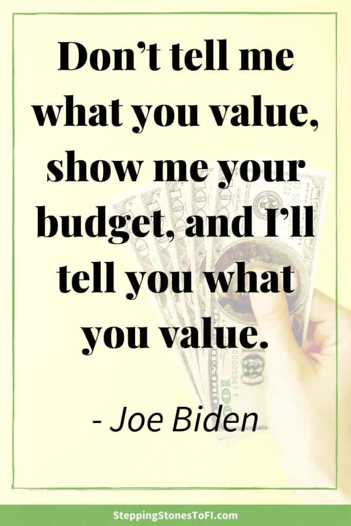 """Long Pinterest image with quote """"don't tell me what you value, show me your budget, and I'll tell you what you value."""" by Joe Biden"""