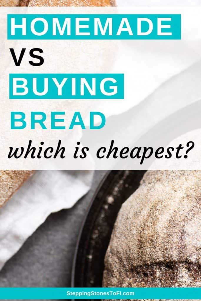 Long Pinterest pin image of homemade loaves of sourdough bread - is it cheaper to make your own bread?