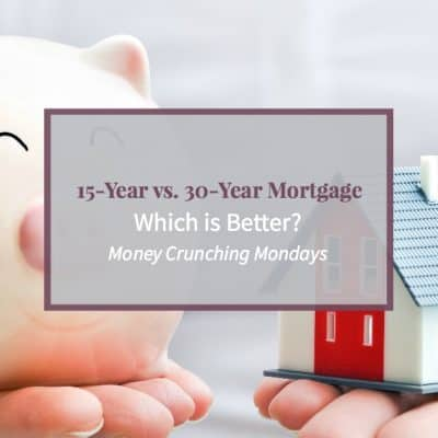 """Image of piggy bank and home with text """"15 year vs 30 year mortgage, which is best?"""""""