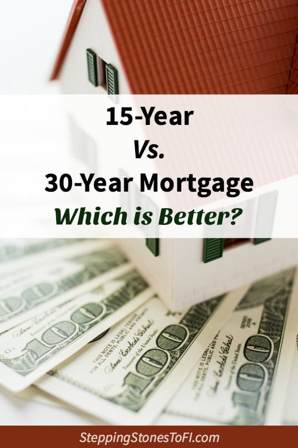 "Long Pinterest image of a model house sitting on $100 bills and text ""15-year vs. 30-year mortgage, which is better?"""