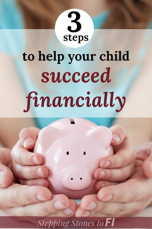 """close up of mother and daughter holding piggy bank and text """"3 signs that your child will struggle with money and how to prevent it"""""""