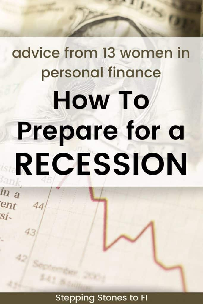 """Long Pinterest pin of a dollar bill and falling stock chart with text """"How to prepare for a recession"""""""