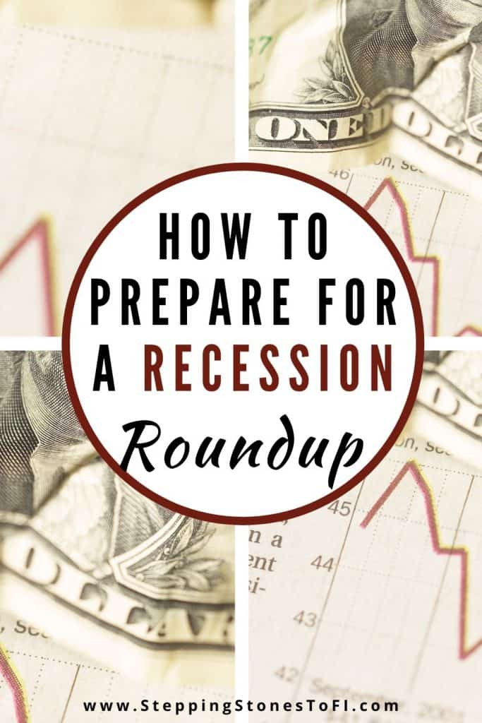 """Long Pinterest pin of a dollar bill and falling stock chart with text """"How to prepare for a recession - roundup"""""""