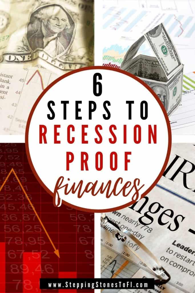 """Long Pinterest pin of falling stock market graph and dollar bill with text """"6 steps I took to recession proof my finances"""""""