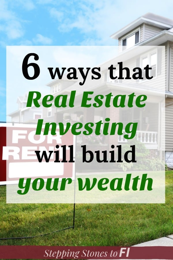 "image of a FOR RENT sign in front of a rental property with caption ""6 ways that real estate investing will build your wealth"""