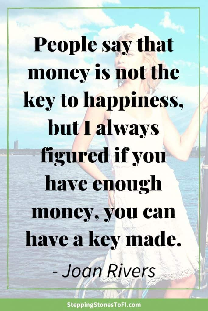 "Long Pinterest image with quote ""People say that money is not the key to happiness, but I always figured if you have enough money, you can have a key made."" By Joan Rivers."