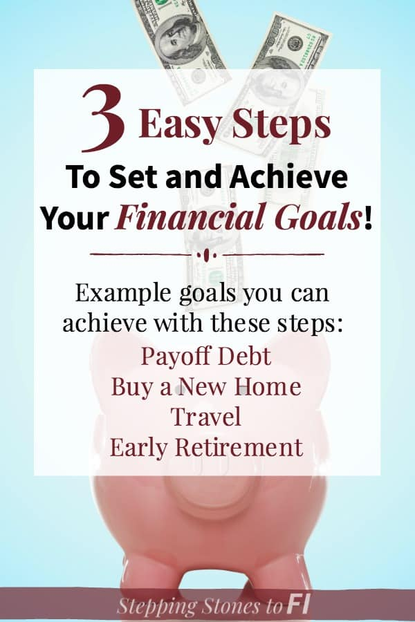 "Piggy bank with money and text overlay ""3 easy steps to achieve your financial goals"""