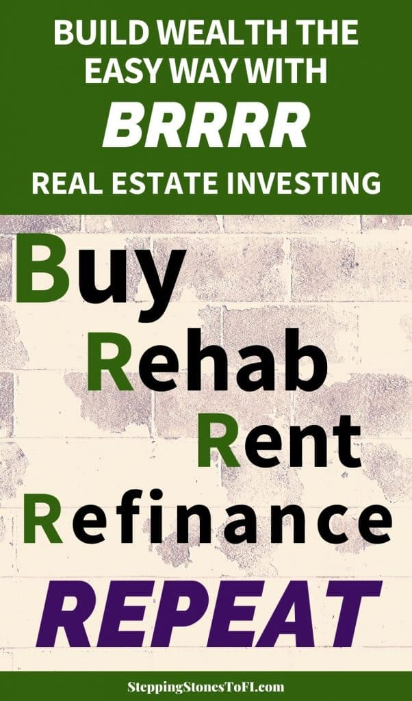 """Long Pinterest image with text """"Build wealth the easy way with BRRRR Real Estate Investing"""""""