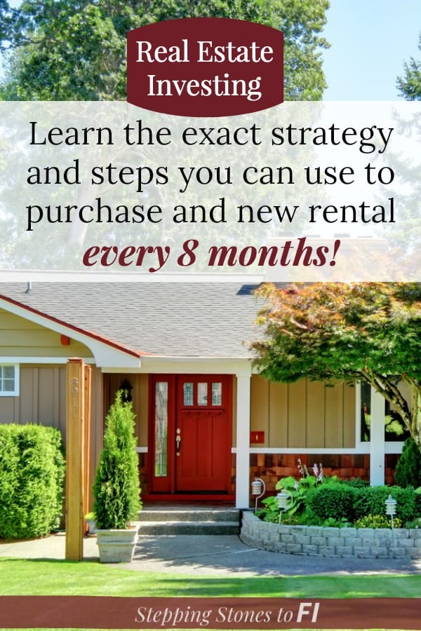 """Image of cute home with green lawn and large tree out front and inviting porch and red front door, text overlay """"Learn the exact strategy and steps you can use to purchase a new rental every 8 months"""""""