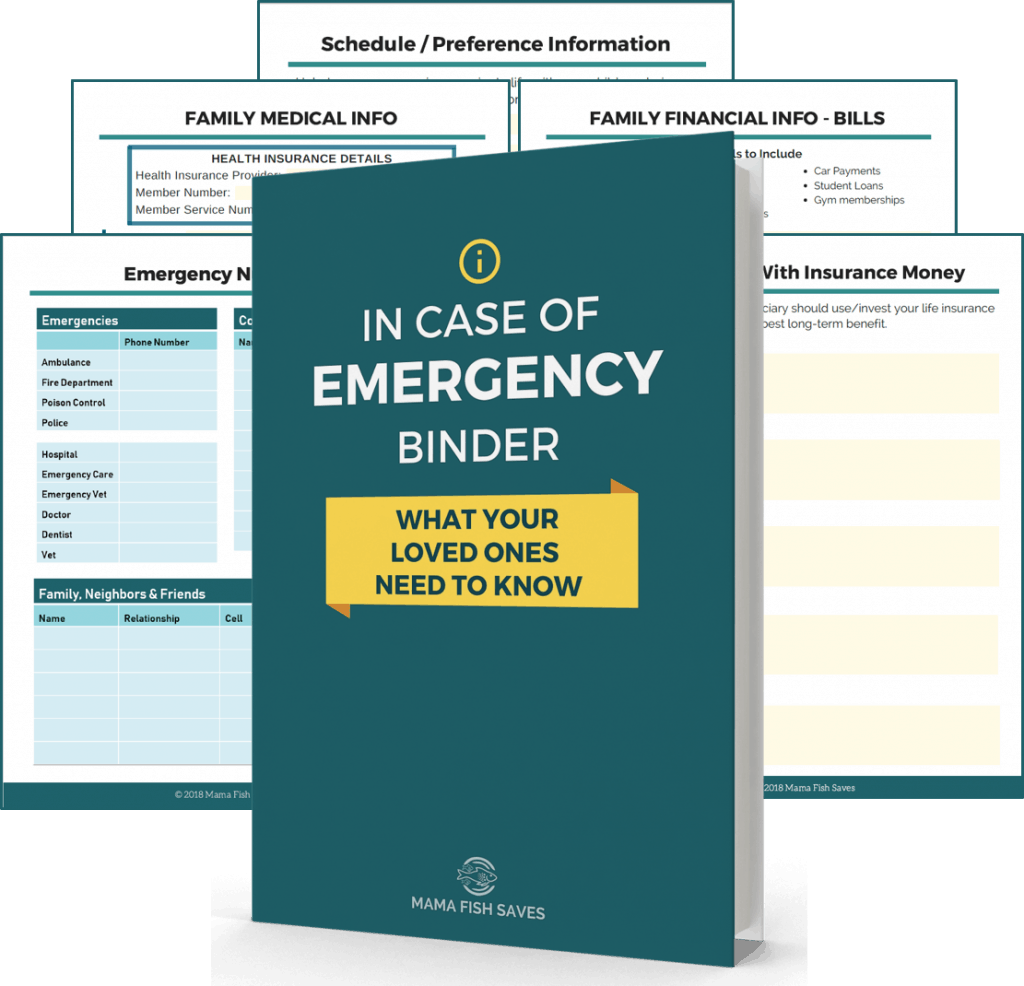 In case of emergency binder - what's included