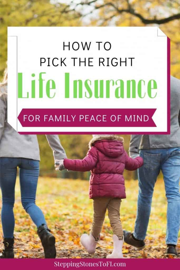 """family walking together in the fall with text """"How to pick the right life insurance policy for family peace of mind"""""""