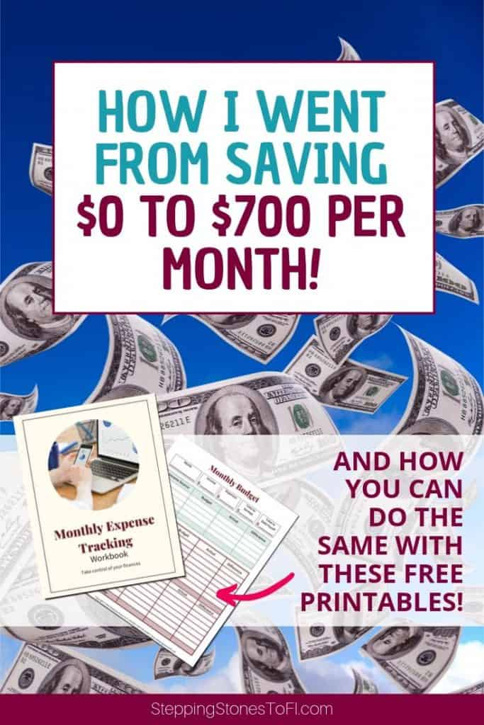 """Long image of money floating against blue sky and text """"how I went from saving $0 to $700 per month"""""""