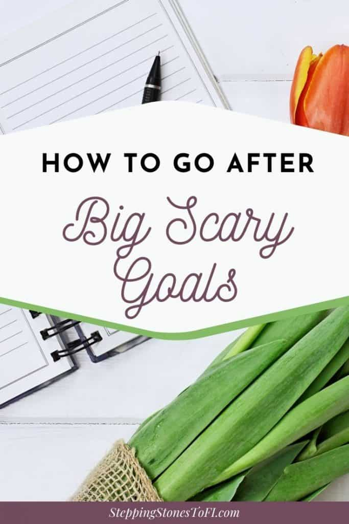 """Long Pinterest image of journal on desk with orange tulips and text overlay """"How to go after big scary goals"""""""