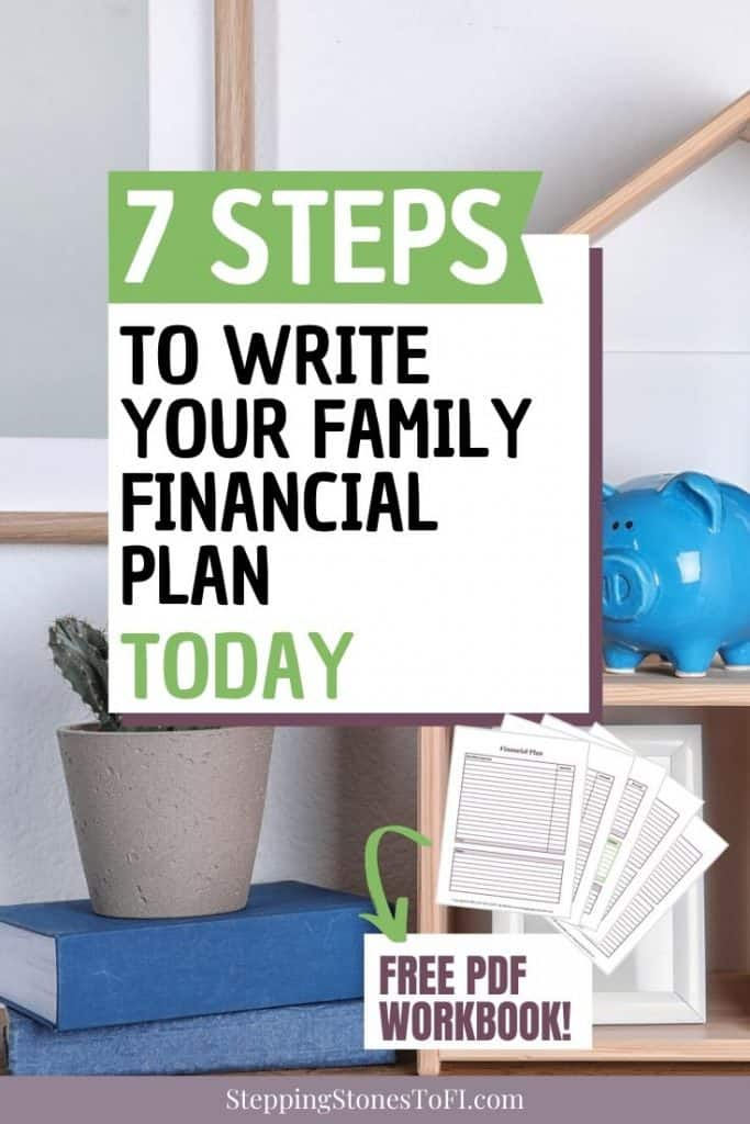 "home office with blue piggy bank and text overlay ""7 steps to write your family financial plan today"""