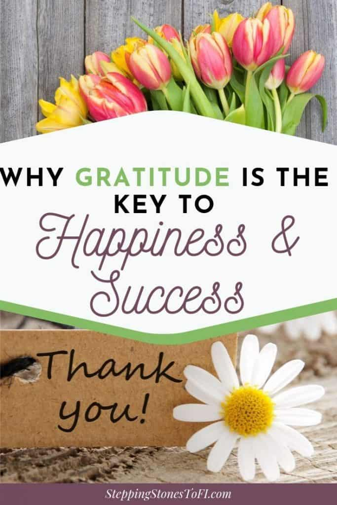 "Long image of flowers and text overlay ""why gratitude is the key to happiness and success"""