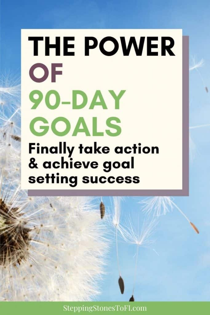 """Closeup of dandelion blowing in the wind and text """"The power of 90-day goals, finally take action and achieve goal setting success"""""""