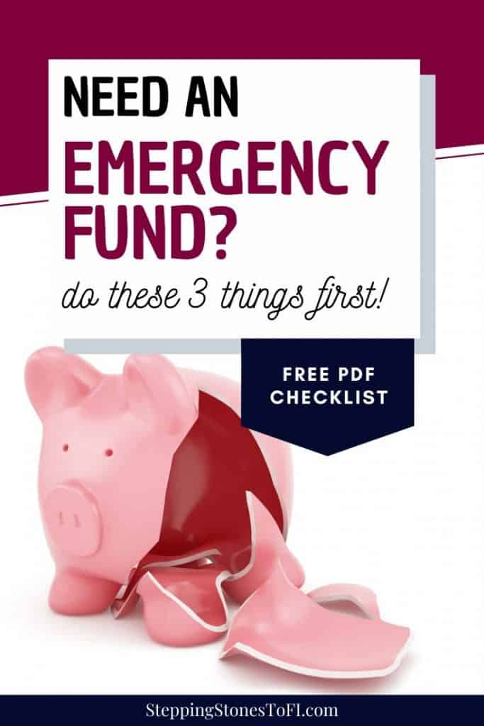 "Long Pinterest image of broken piggy bank and text overlay ""how to start an emergency fund with these 3 first steps"""