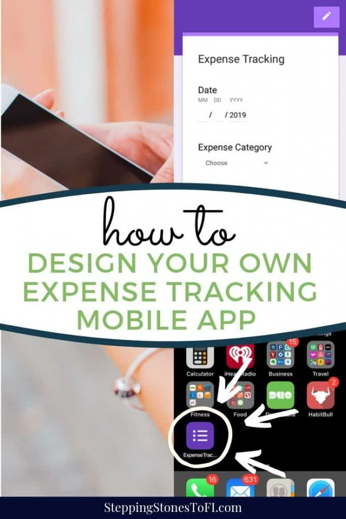 Long pinterest image depicting how to create your own expense tracking mobile app