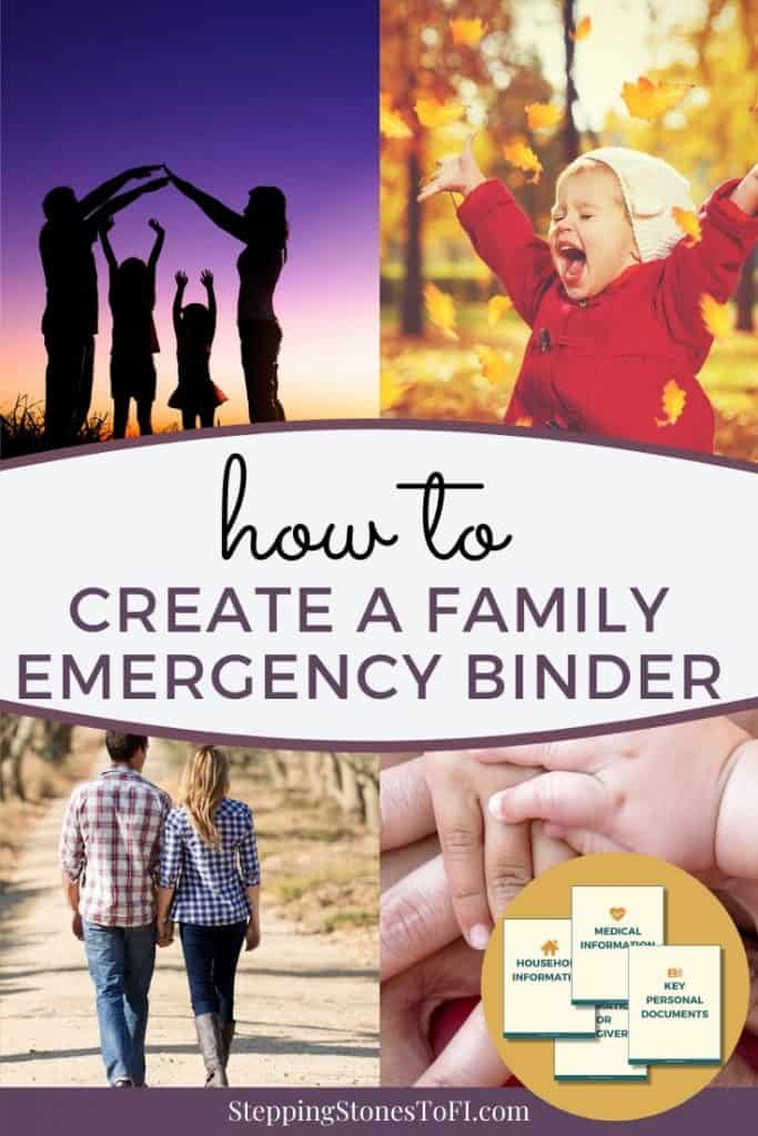 """Family together collage with text """"How to create a family emergency binder"""""""