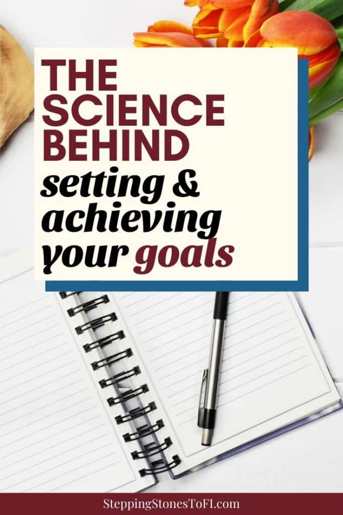 """Long Pinterest image of an open journal and pen on a desk with tulips and text """"The science behind setting and achieving your goals"""""""