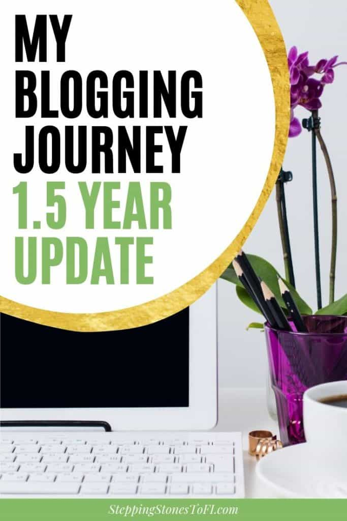 "Long Pinterest image of feminine work desk with laptop and orchid and text ""My Blogging Journey: 1.5 Year Update"""