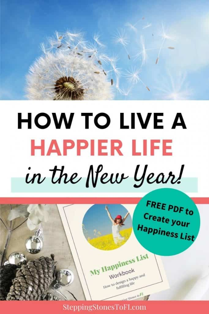 "Long Pinterest image of a happiness list workbook on a desk and text ""How to live a happier life in the New Year"""
