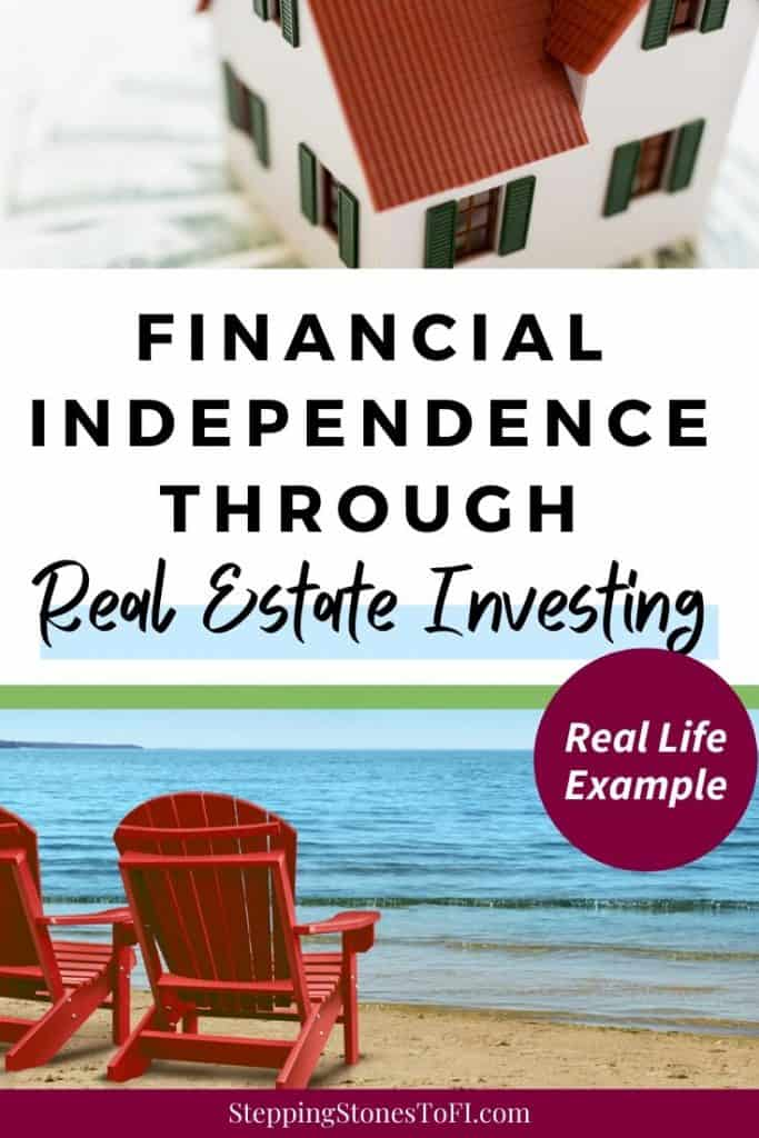 "Long Pinterest image with toy house on a pile of $100 bills and two beach chairs overlooking the ocean with text ""Financial Independence Through Real Estate Investing - Real life example"""