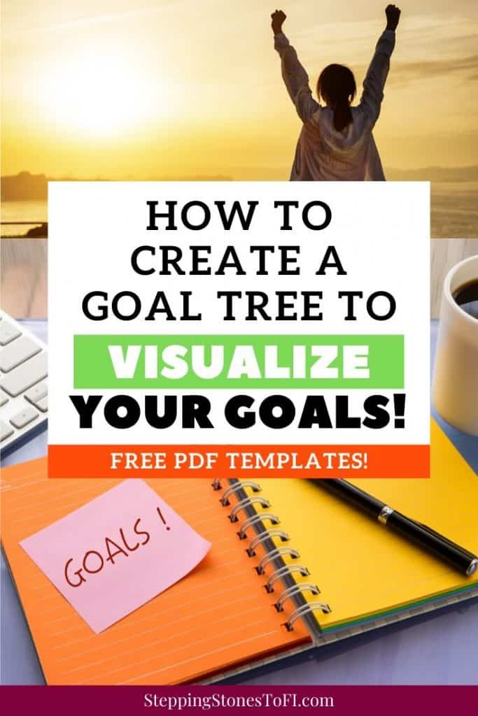 """Long Pinterest image of a successful woman with arms outstretched and a desk with a goal setting journal out, text overlay """"How to create a goal tree to visualize your goals"""""""