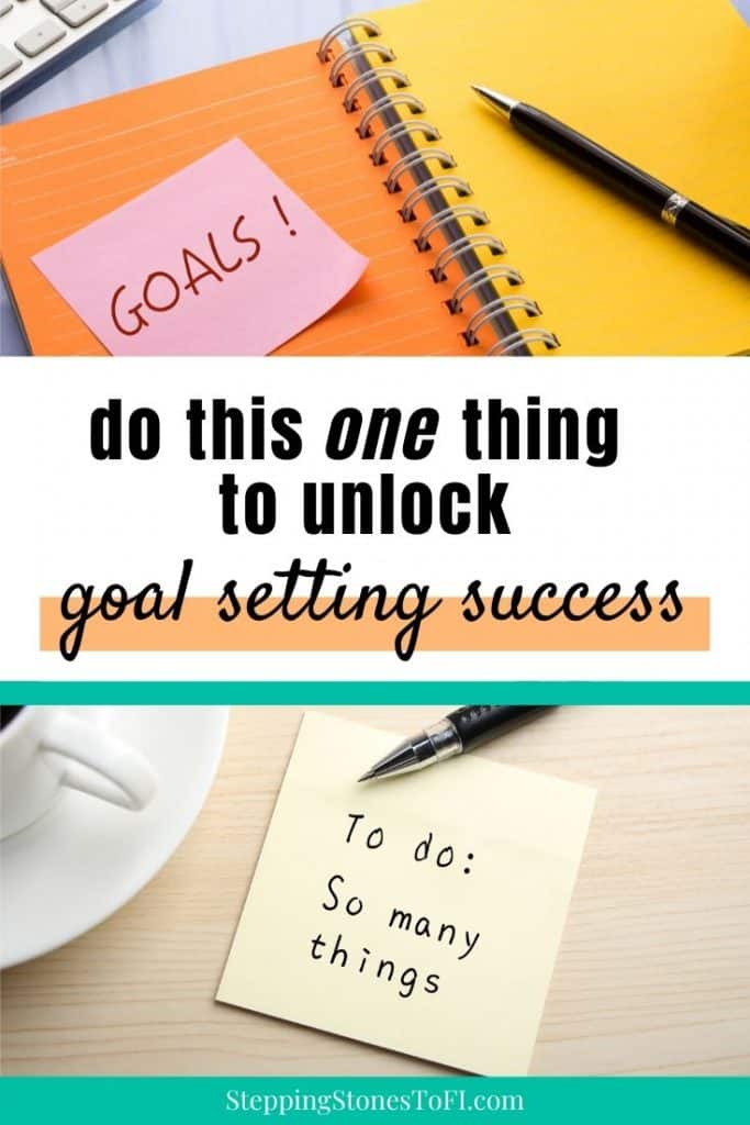 Long Pinterest pin with images of goal planners on a desk and to-do lists, how to use a goal setting planner for goal success.