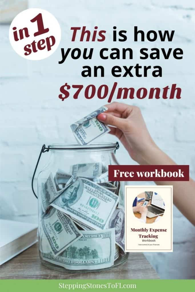 """Long Pinterest image of a woman placing money in a large savings jar with $100 bills and text """"This is how you can save an extra $700/month"""""""