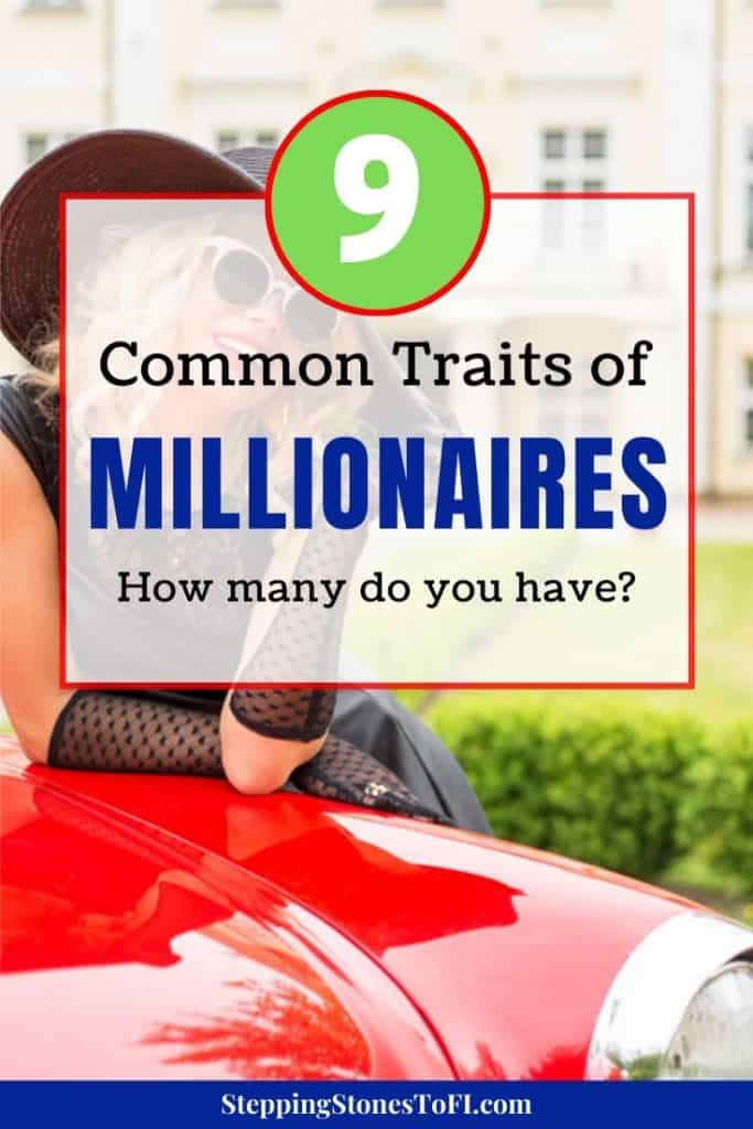 """Classy woman leaning over a red sports car and text """"9 Common Traits of Millionaires and How to Adopt Them"""""""