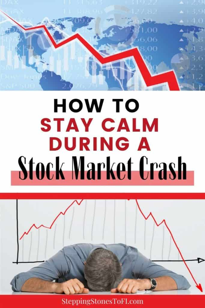 Long Pinterest image of how to stay calm during a stock market crash