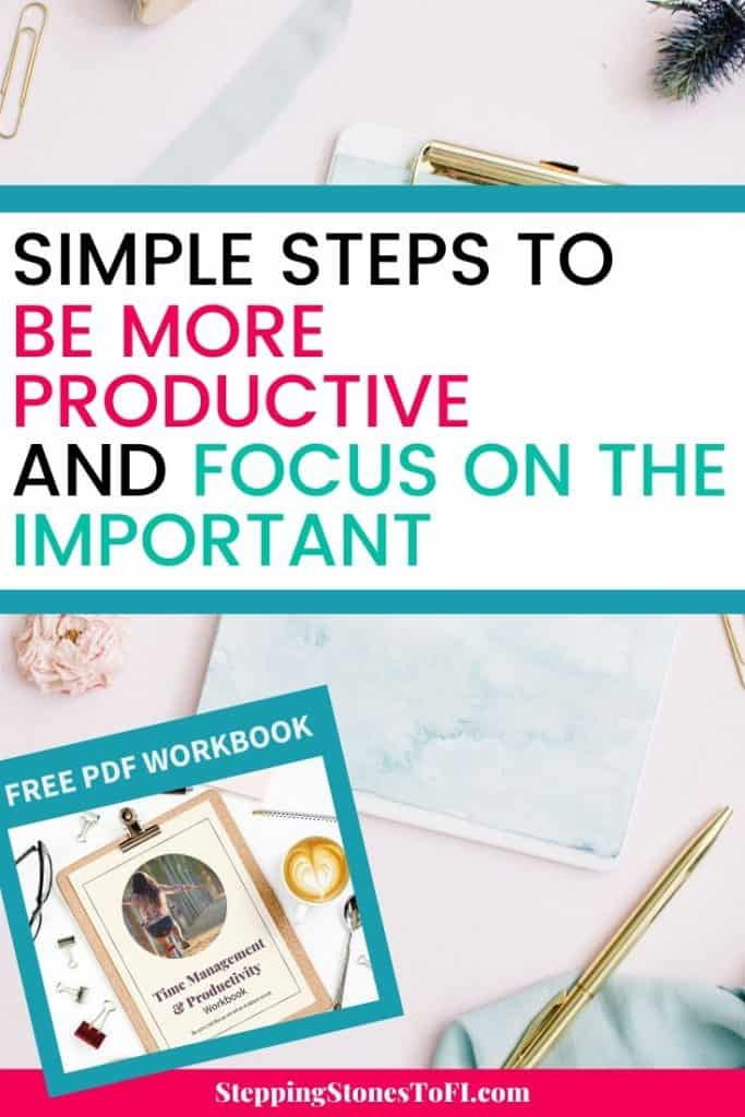 "Long Pinterest image of desktop with planner and text ""Simple steps to be more productive and focus on the important"""