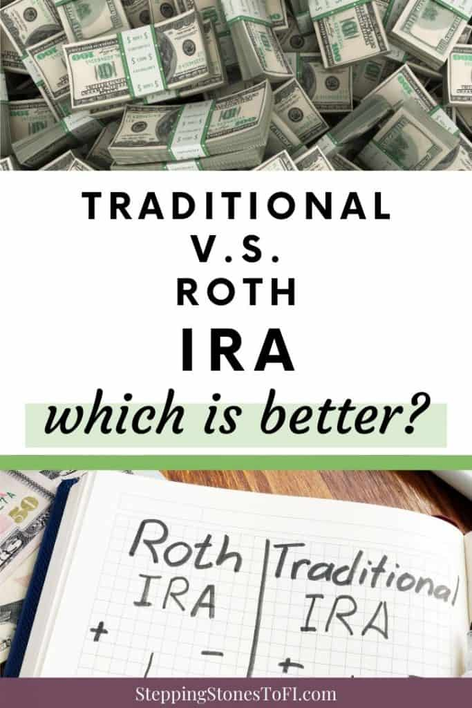 Long Pinterest image of money and open notebook with pros and cons of traditional vs. Roth IRA, which is better?