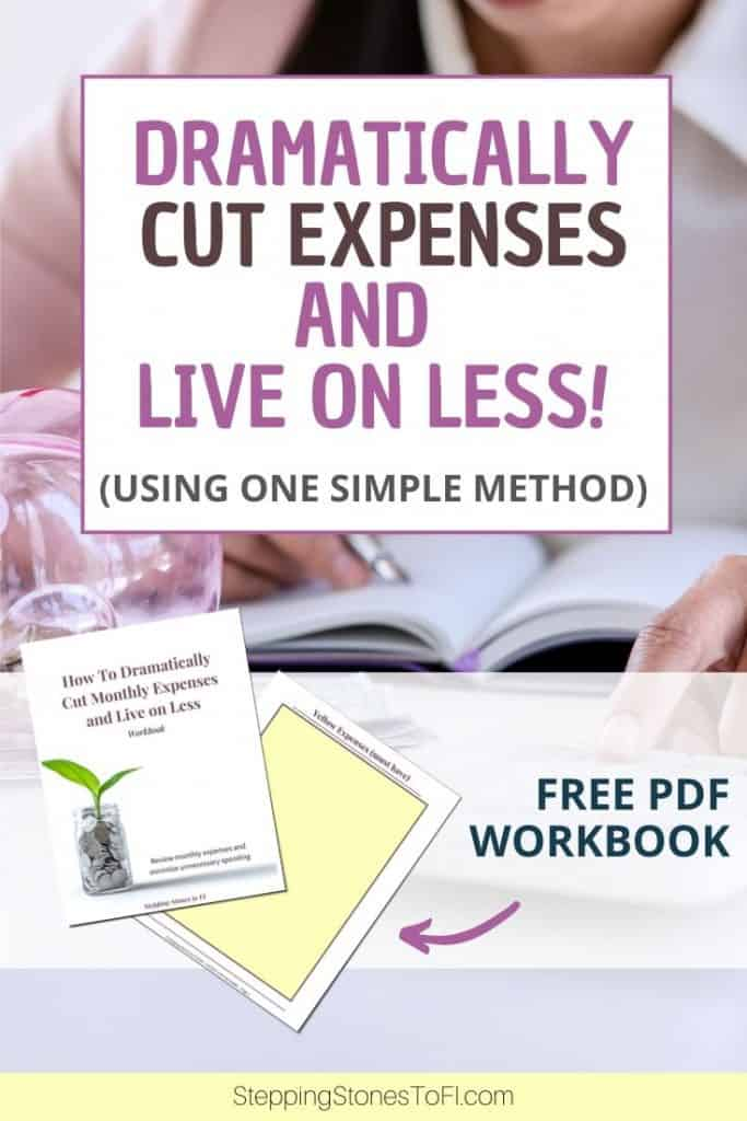"""Long Pinterest pin of a woman working on a budget with piggy bank out and text """"How to dramatically cut expenses and live on less"""""""