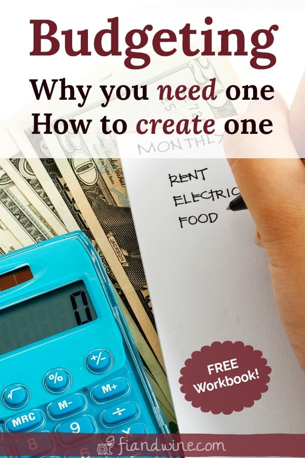 Calculator and stack of money on a desk with a notepad, writing list of budget categories.  How to create a budget