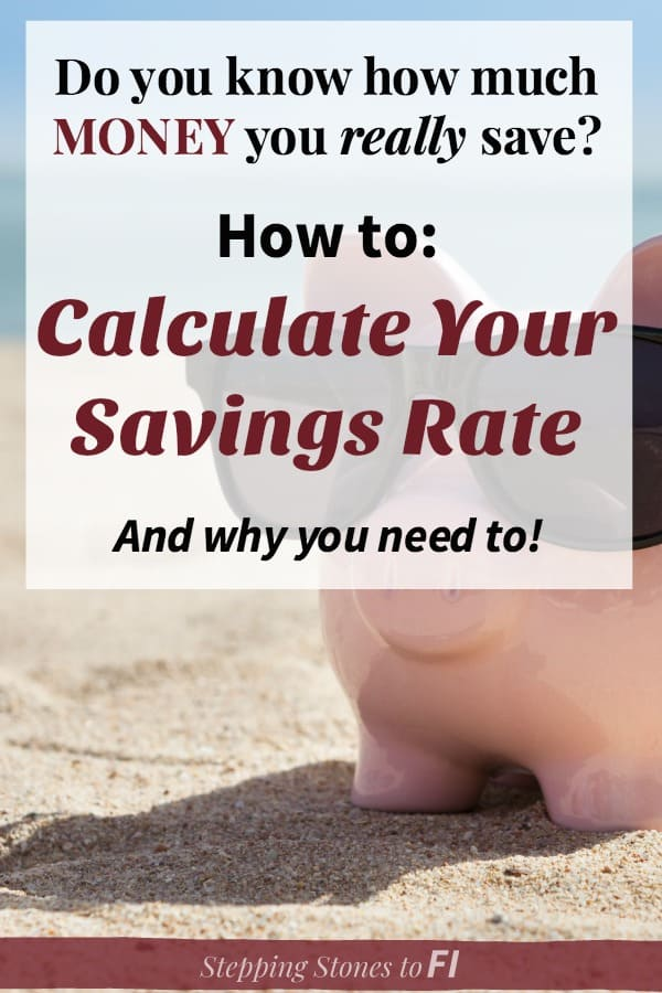 "Piggy bank on beach wearing sunglasses with text overlay ""Do you know how much money you really save? How to calculate your savings rate"""
