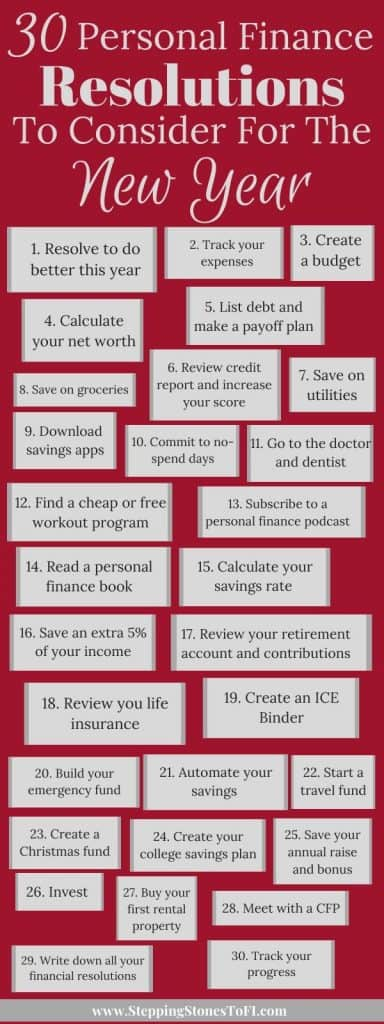 long pinterest image of 30 personal finance goals to set in the new year