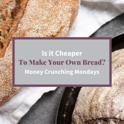 """Feature Image two loaves of homemade sourdough bread and text """"Is it cheaper to make your own bread?"""""""