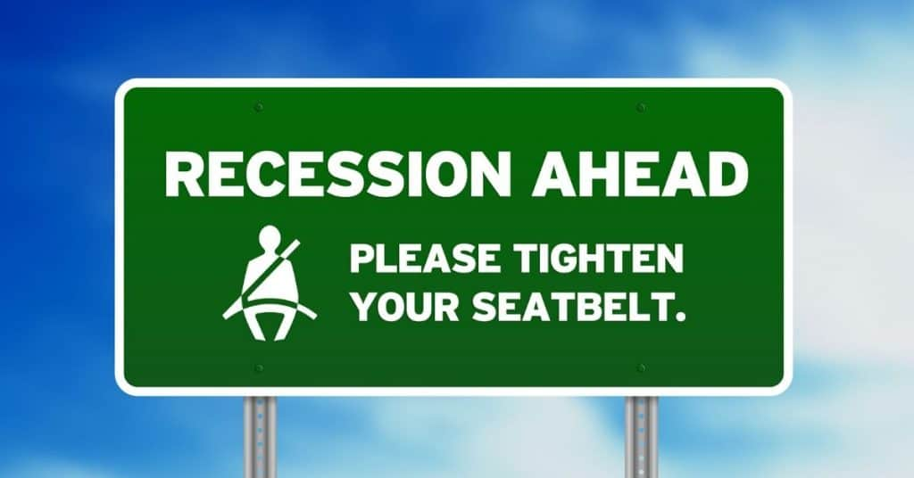 Street sign Recession Ahead - Please tighten your seatbelt