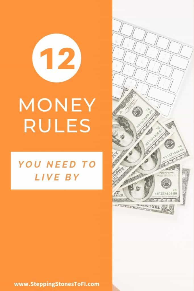 """Long Pinterest pin of money on a desk by a keyboard and text """"12 money rules you need to live by"""""""