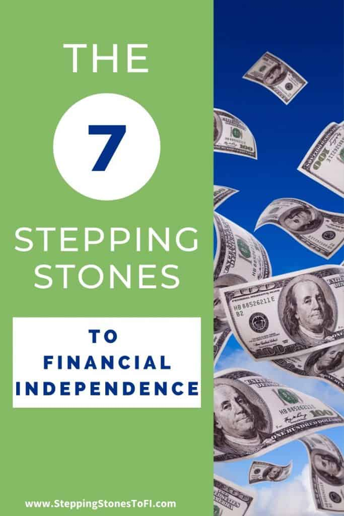 """Long pinterest pin with $100 dollar bills flying through blue sky and text """"the 7 stepping stones to financial independence"""""""