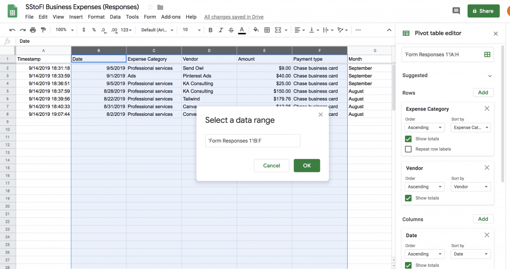 Screenshot of highlighting the right form response columns to create a pivot table in Google sheets.