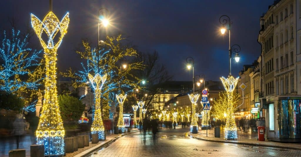 Town with christmas lights
