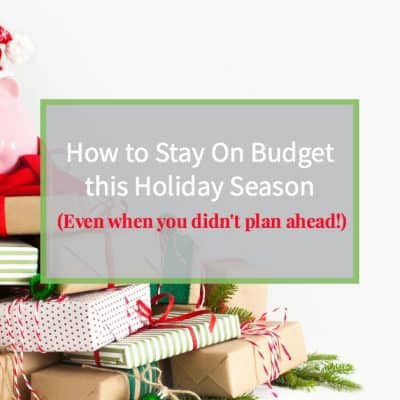 """Piggy bank with Santa hat sitting on top of a large pile of Christmas presents and text overlay """"How to stay on budget this holiday season"""""""