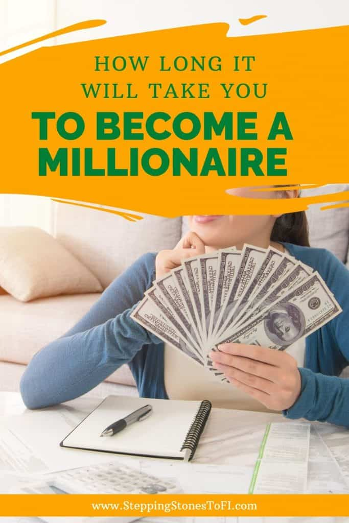 """Long Pinterest Pin image of a happy woman sitting in front of a calculator and sheets of paper and $100 bills in hand with text """"How Long it Will Take You to Become a Millionaire"""""""