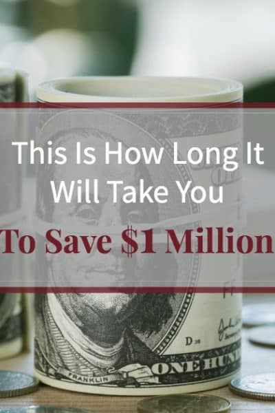"Rolls of hundred dollar bills and change on a table with text overlay ""This is How Long it will Take You to Save $1 Million"""