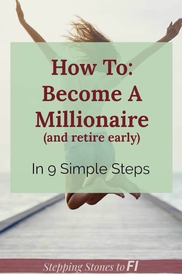 "happy woman jumping in the air with arms out ""How to become a millionaire and retire early - in 9 simple steps"""