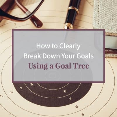 """Goal setting with target, objectives and planning concept and text """"How to create a goal tree"""""""
