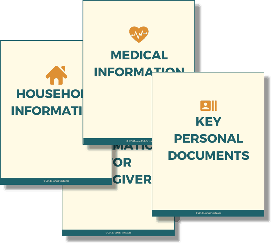Binder categories for In Case of Emergency Binder